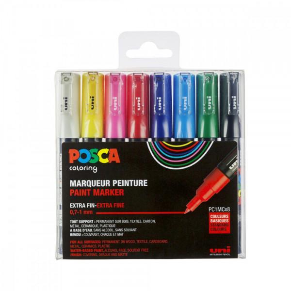 Set de 8 POSCA - pointe extra-fine - PC1MC