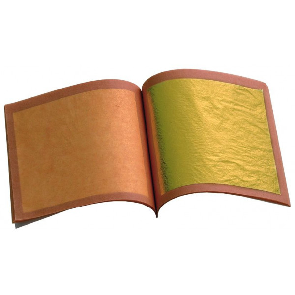 Feuilles d'or demi-jaune vif - libre- 80x80mm