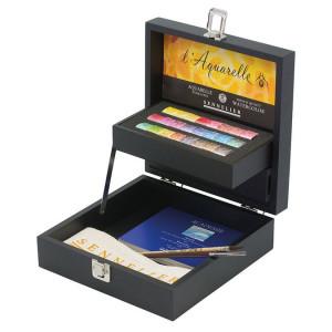 Coffret noir aquarelle extra-fine 24 demi-godets - Sennelier