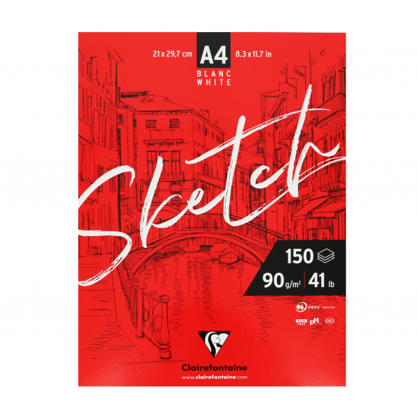 Bloc sketch 90gr - 150 pages - Clairefontaine