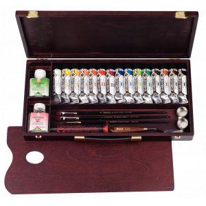 Coffret 15 tubes rembrandt extra fine et accessoires