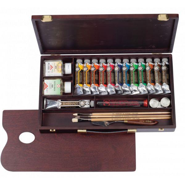 Coffret Huile complet tiroir 13 tubes Rembrandt et accessoires