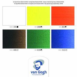 Nuancier du 6 tubes de peinture huile fine Van Gogh