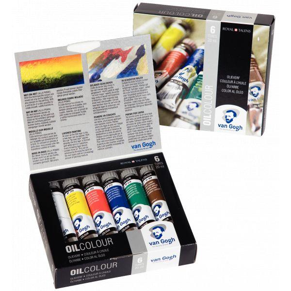 Boîte de 6 tubes de peinture huile fine Van Gogh