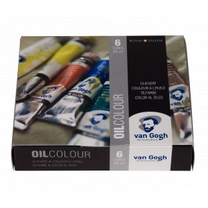 Set carton 6 tubes de peinture huile fine Van Gogh