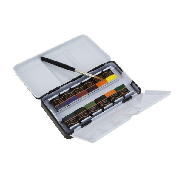 Boîte métal aquarelle 12 demi-godets + pinceau