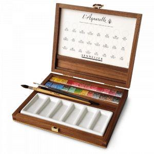 Coffret aquarelle extra-fine 24 demi-godets + 2 pinceaux - Sennelier