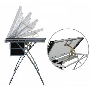 Table à dessin avec plateau en verre inclinable