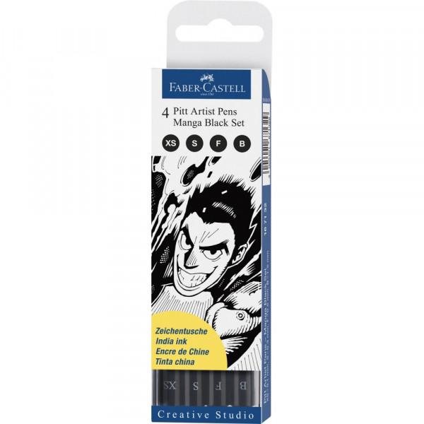 Pochette 4 feutres Pitt noir - Manga - Faber-Castell