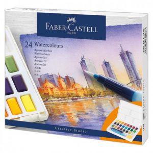 Boîte de 24 demi-godets d'aquarelle Faber-castell