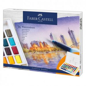Boîte de 36 demi-godets d'aquarelle Faber-castell