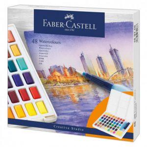 Boîte de 48 demi-godets d'aquarelle Faber-castell