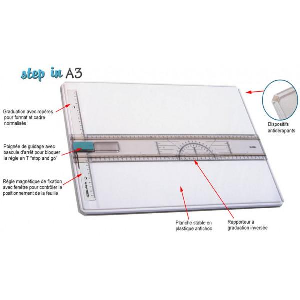 Planche à dessin au format A3 cavec système de blocage stop + go