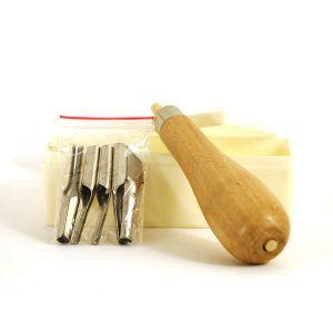 Assortiment de gouges + manche pour linogravure