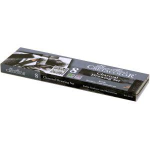 Boîte métal contenant 7 fusains, craies et crayons dessins - Cretacolor