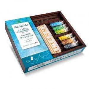 Coffret bois Petite Aquarelle Sennelier - 12 tubes