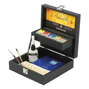 Coffret noir aquarelle extra-fine 11 tubes + accessoires - Sennelier