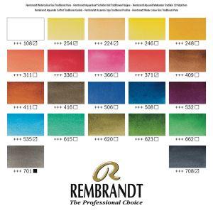 Nuancier couleurs coffret Rembrandt Traditionnal