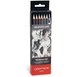 Set de 6 crayons graphites Technalo + pinceau à réserve d'eau - Caran d'Ache
