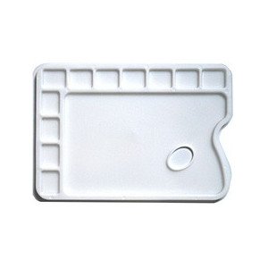 Palette de peintre en plastique rectangulaire - 12 cases