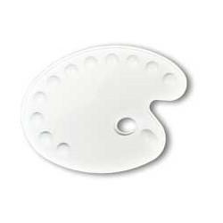 Palette de peinture ovale en plastique - 11 cases