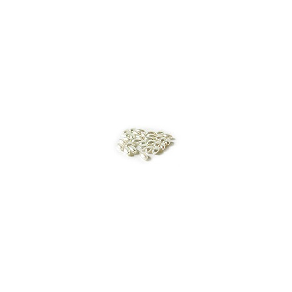 """Perles nacrées """"grain de riz"""". Couleurs : blanc, chocolat, kaki"""