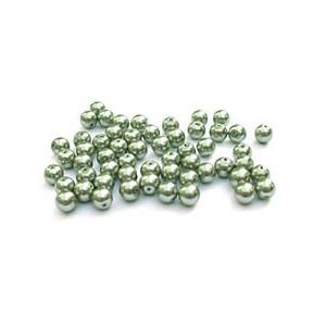 "Perles nacrées rondes ""kaki"""