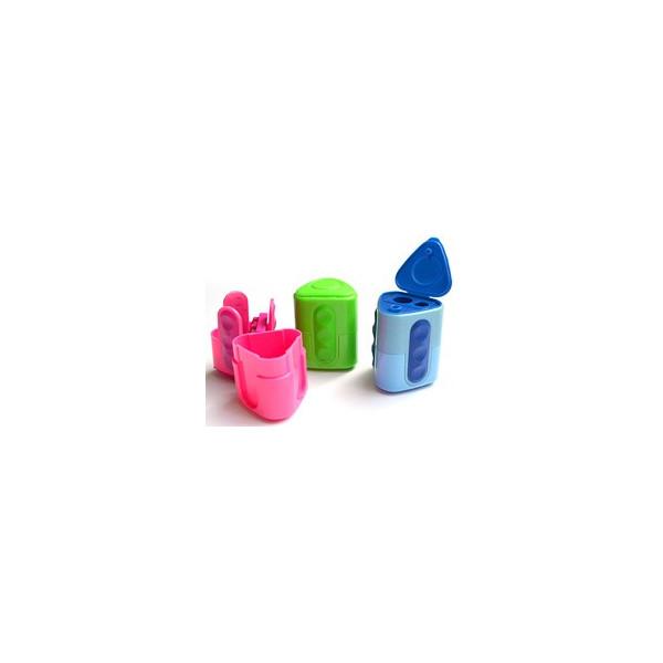 Taille-crayon en plastique avec réservoir, 2 usages