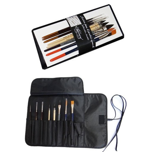 Kit pinceaux aquarelle - Trousse + 8 pinceaux - Léonard