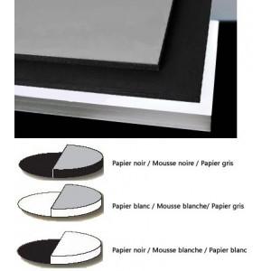 Carton mousse / carton plume - Bicolor - Blanc, noir et gris