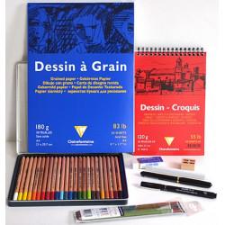 Kit dessin crayons de couleurs et feutres